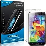 SWIDO Schutzfolie für Samsung Galaxy S5 Duos LTE [2 Stück] Kristall-Klar, Hoher Festigkeitgrad, Schutz vor Öl, Staub & Kratzer/Glasfolie, Bildschirmschutz, Bildschirmschutzfolie, Panzerglas-Folie