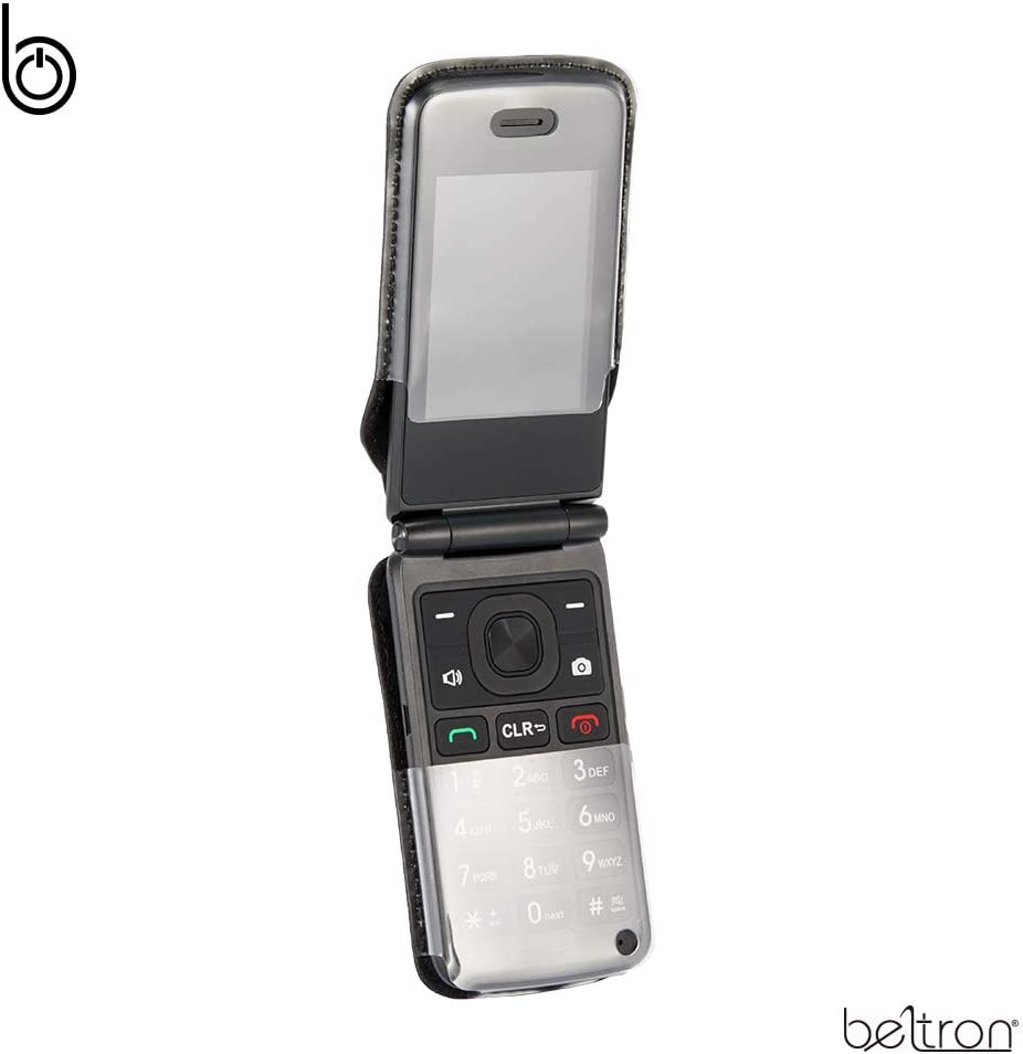 Fitted Leather Case for KAZUNA eTalk, (Verizon Flip Phone) Features: Rotating Belt Clip, Screen & Keypad Protection, Secure Fit