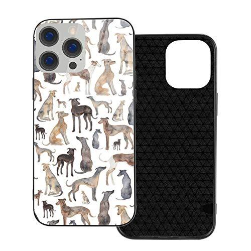 MEUYGOFLZ Compatible con iPhone 12 Pro Max, carcasa resistente de cuerpo completo, suave carcasa de cristal TPU para iPhone 12 Pro Max 6.7 pulgadas, toallitas de galgos y perros Lurcher.
