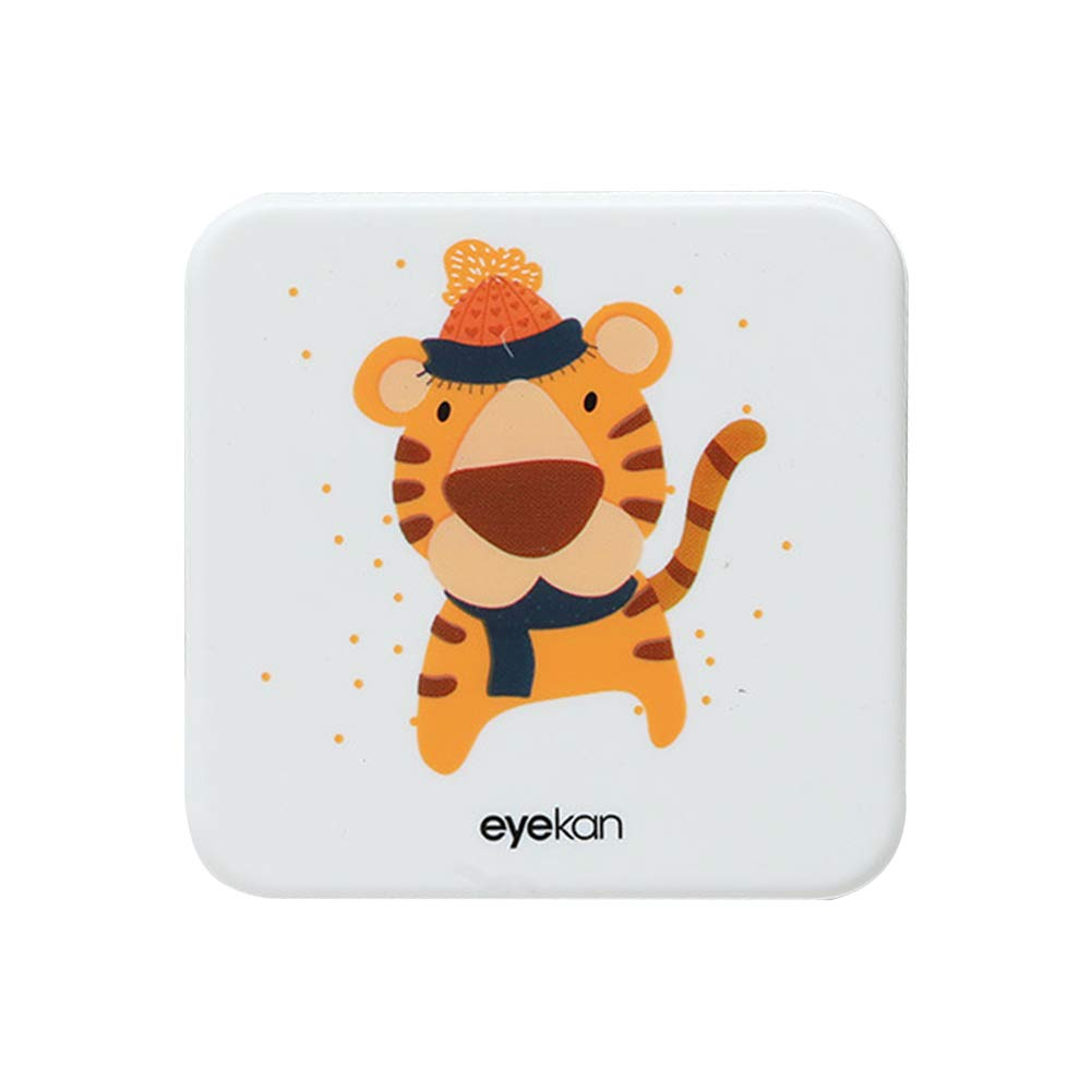 Drawihi Mini Caja Portatil Lentillas Twin Estuche para Gafas y lentillas Caja de Lentes Viaje para Lentes de Contacto Tamano de Bolsillo con para lentillas, para líquidos y Pinzas(Tigre Cuadrado): Amazon.es: Coche