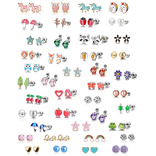LABOTA 42 Pairs Girls Earrings, Hypoallergenic Stainless Steel Mixed Color Cute Animals Flowers unicorn rainbow Pearl Stud Earrings Set, Best gifts for girls.