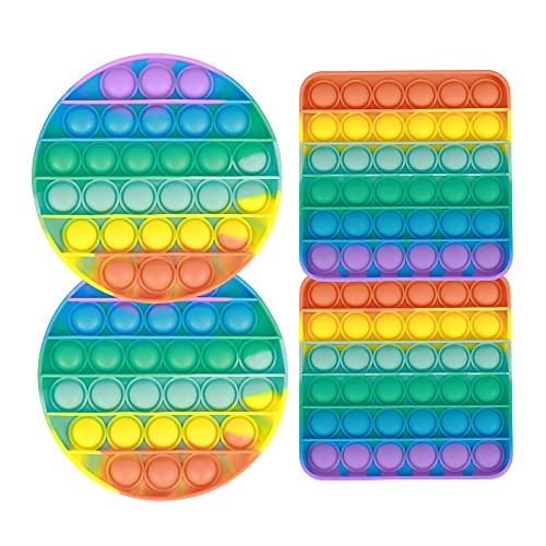 スクイーズ玩具 おもちゃ プッシュ ポップ フィジェット おもちゃ バブル ストレス リリーフ バブル ラップ ポッパー 算数 数学 教育玩具 子供と大人が楽しめる Pop it Fidget Toy (Rainbow (4 Pack))