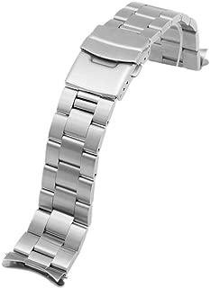 Juntan Stainless Steel Curved Solid End Tapered 20mm 22mm Watch Band Metal Watch Strap Bracelet Deployment Double FlipLock Buckle Silver Black