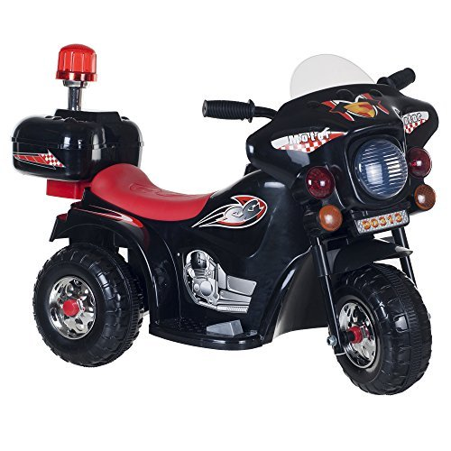 Lil' Rider Super Sport Three Wheeled Motorcycle Ride-On - Black by Trademark Global - Toys