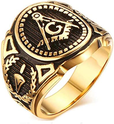 MONALLY Retro Stainless Steel Ring for Men Gold Plated Freemasonry Masonic Ring Jewelry Size product image