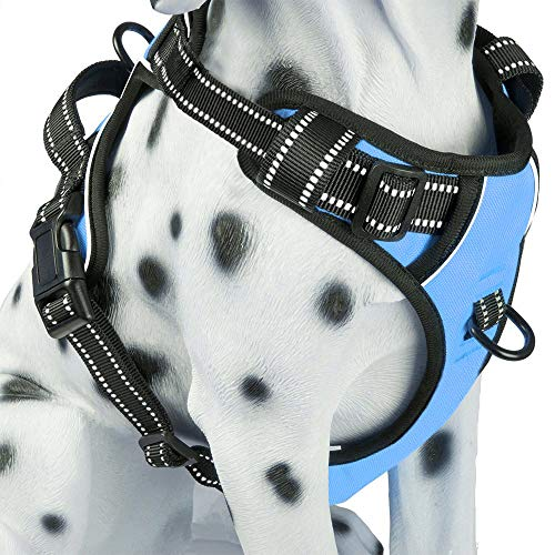 PoyPet No Pull Dog Harness, Reflective Vest Harness with 2 Leash Attachments and Easy Control Handle for Small Medium Large Dog(Light Blue,M)