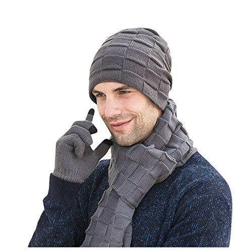 TEVERL 3 Heren Winter Hoed Erwten Hoed Dikke Gebreide Hoed Sjaal Handschoenen Winter Hoed