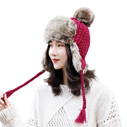AFASSSW dames kunstleer winter rood bomberjack wintermuts wintermuts sneeuwbol oor liefde heeft warm rand kleine wintermuts