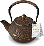 Black and Gold Cast Iron Teapot by Charbrew 1200ml Tea Pot Kettle