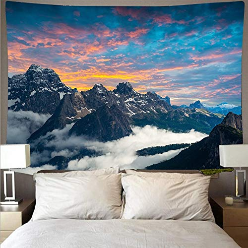 Montaña bosque cielo paisaje tapiz arte psicodélico colgante de pared toalla de playa mandala manta fina tela de fondo A2 130x150cm