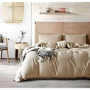 AiMay Pom Poms 3 Piece Duvet Cover Set (1 Duvet Cover + 2 Pillow Shams) Stone-washed Brushed Luxury 100% Super Soft Microfiber Bedding Collection (Camel, King)