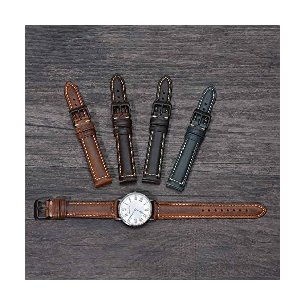 Vintage Leather Watch Band EACHE Watch Strap Oil Wax/Discolored Litchi Grain Genuine Leather Replacement Watchband for Men for Women 18mm 19mm 20mm 21mm 22mm 23mm 24mm