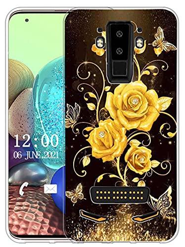 Sunrive Kompatibel mit DOOGEE S90 Hülle Silikon, Transparent Handyhülle Schutzhülle Etui Hülle (X Schmetterling und Rose 1)+Gratis Universal Eingabestift MEHRWEG