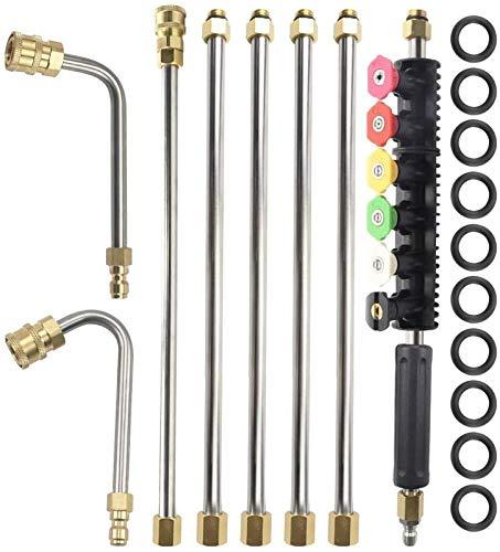 Conjunto de varillas de extensión de la lavavajillas de la versión actualizada, lanza de lavadora de potencia reemplazable con 6 puntas de boquilla de pulverización, vara U, 1/4 pulgadas con conexión