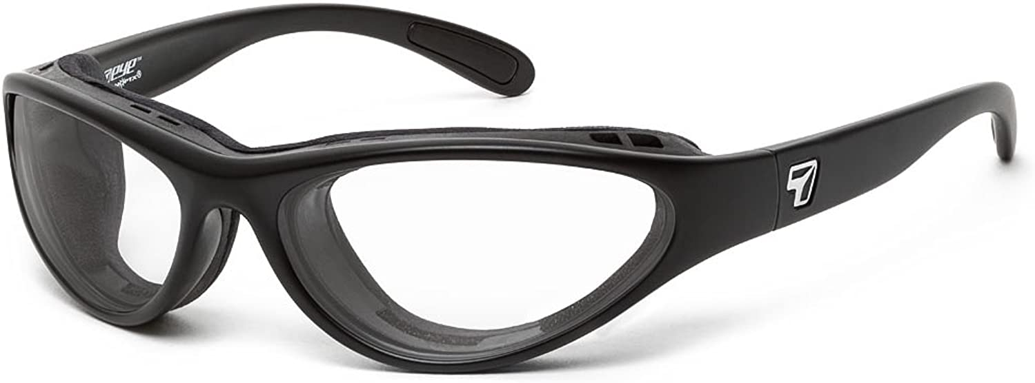 7eye by Panoptx Viento Frame Sunglasses with Clear Lenses, Matte Black, Small Medium