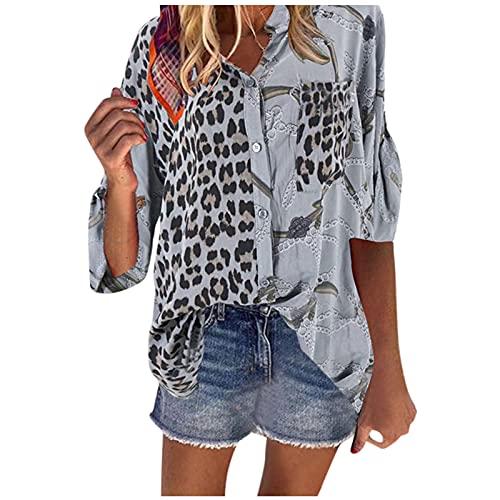 LalalukaOberteileDamenTShirtLeopard Spleißen Tasten Revers BluseSommer Frauen OberteilTshirt T-ShirtBlusenTunikaTopBluseshirtT-ShirtHemdLongshirtKurzarmshirt