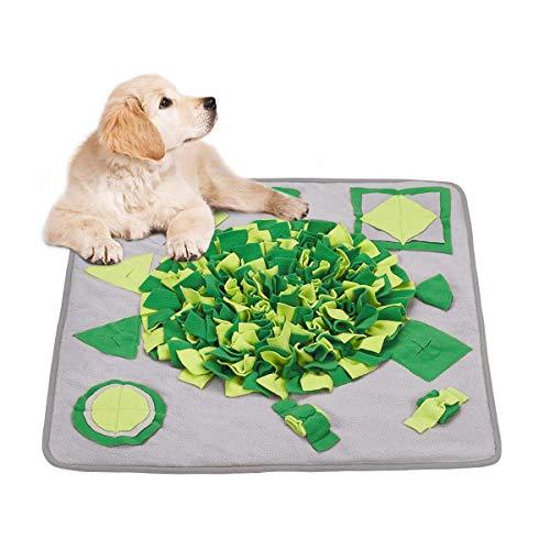Dociote Schnüffelteppich Hund waschbar & schadstofffrei 70 x 70cm Trainingsmatte Futtermatte Schnüffeldecke Intelligenz Trainieren Spielzeug für Haustier Hunde Katzen Grau + Grün