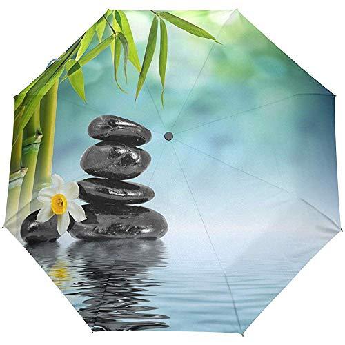 Zen Stone Bamboo 3 Folds Auto Öffnen Schließen Anti-UV-Regenschirm