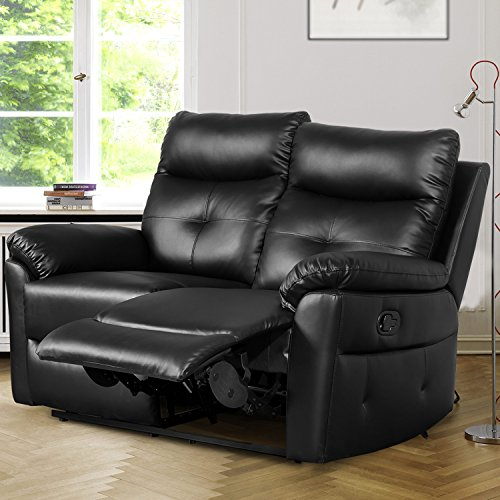 Leisure Zone Black PU Leather 2 Seater Sofa Recliner, Loveseat Lounge Couches Sets with Recliner for Living Room, Office, Study Room or other Room