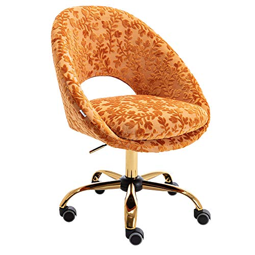 Olela Stylish Desk Chair Modern Upholstered Task Chair with Gold Legs Cute Home Office Chair Velvet Armless Swivel Rolling Chair with Wheels,Orange