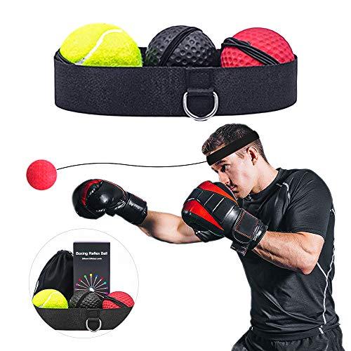 DONGQI Reflejo de Boxeo,Ball Fight Ball Reflex,para Mejorar Las reacciones y la Velocidad, Ideal para Entrenamiento y Fitness,Correas de Silicona Ajustables,3 Bolas.