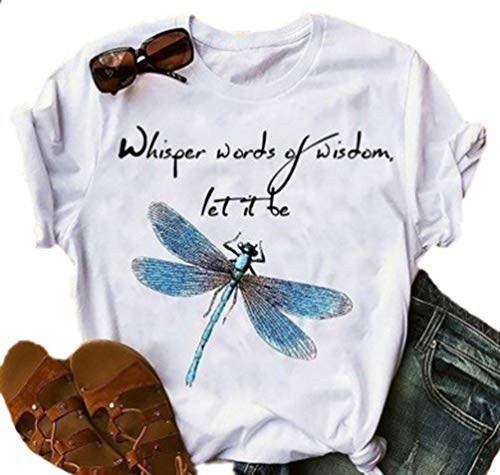 Kewing Camisetas Mujer Dragonfly Graphic Blessed Shirt Funny Inspirational Teen Girls Tees Tops
