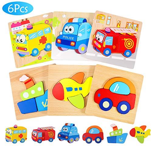 joylink Puzzles de Madera Juguetes para Bebes, 6 Piezas Puzzles de Madera Educativos para Bebé 1 2 3 años Rompecabezas de Madera Bebes Juguetes Montessori para Bebé