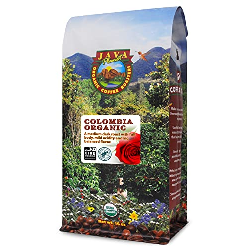 Java Planet, Organic Coffee Beans, Colombian Single Origin, Low Acid, Gourmet Medium Dark Roast of Arabica Whole Bean Coffee, Certified Organic, Rainforest Alliance Certified, Non GMO,1LB Bag