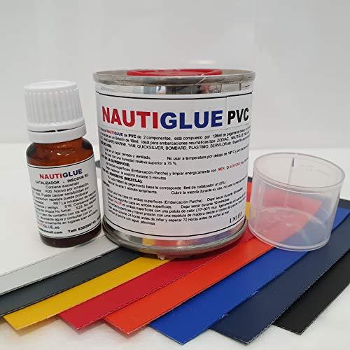NAUTIGLUE Pegamento de PVC Profesional de 125 mililitros para la reparación de Zodiac (Elegir Color del Parche de Regalo) (Gris Claro)