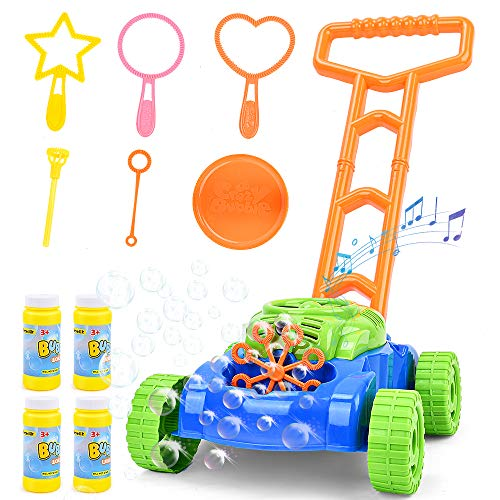 Sotodik Bubble Mower for Kids Automatic Bubble Lawn Machine with Music Sounds Outdoor Party Toys for Toddlers with 4 Bottles of Solution and 6PCS Bubble Wands Set for Boys & Girls