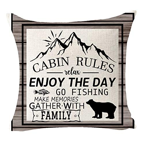 "Cabin Rules Make Memories Gather with Family Relax Mountain Bear Best Gift for Camping Travel Cotton Linen Square Throw Pillow Case Decorative Cushion Cover Pillowcase for Bed Coach Sofa 18""x 18"""