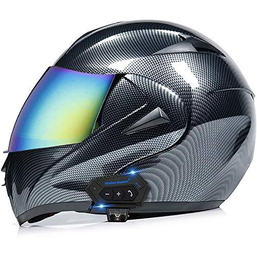 NAINAIWANG Flip Up Motorbike Bluetooth Helmet Motorcycle Modular Dual Visors Full Face Helmets ECE/DOT Approved Built-in Mp3 FM Radio Integrated Intercom Communication System for Men Women