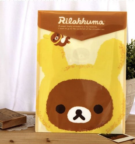 San-X Top Open Plastic Folder Yellow Rilakkuma Honeyland