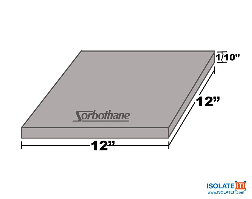 Sorbothane Vibration Damping Sheet Stock (50 Duro, 1/10 x 12 x12in)