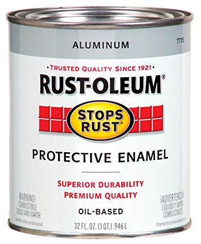 Stops Rust Gloss Brush On Paint, Quart, Metallic Aluminum - Rust-Oleum 7715502