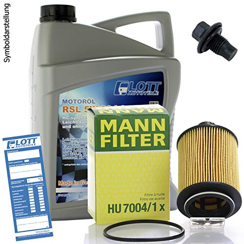Ölwechsel Set Inspektion 5L Lott 5W-30 Öl Motoröl + MANN Ölfilter + Öl Ablassschraube Verschlussschraube
