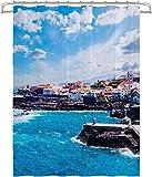 Tenerife Island Town Cortina de Ducha Tejido de poliéster Resistente al Agua a Prueba de Moho Cortinas de Ducha de baño Extra largas con Ganchos, Lavable a máquina y Dobladillo Pesado 70.86'×78.74'