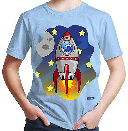 HARIZ Jungen T-Shirt Rakete Im Weltall Astronaut Stern Weltraum Plus Geschenkkarte Himmel Blau 164/14-15 Jahre