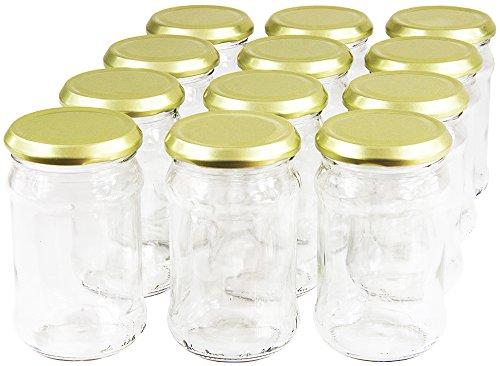 Wamat 300 ml Einweckgläser mit Deckel Gold to 66 Einmachgläser Vorratsgläser Einmachglas Weck (Menge: 24 Stück)