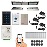 Zemgo FPC-8462 Smart Mobile WiFi Controller for Access Control with Android + Apple App, Web Browser + Smartphone Remote Viewing, Outswinging Door 1200lbs Double Maglock, Indoor Keypad/Reader Kit