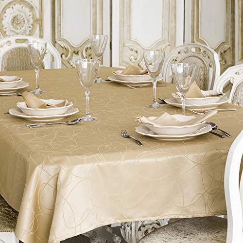 Nappe de luxe Beige - Traitement anti taches - Grandes Tailles - Réf.Lignes, beige, 59 x 137\