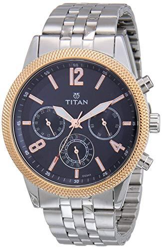 Titan Workwear - Reloj cronógrafo para hombre, cuarzo, resistente al agua, oro/acero inoxidable/correa de cuero