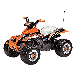 """The """"All in One"""" Peg Perego technology makes Corral T-Rex extremely easy to drive. The accelerator pedal when released becomes a brake that automatically stops the vehicle in a gentle manner, with no sudden jolts. Off-Road Style Quad Bike with Large ..."""