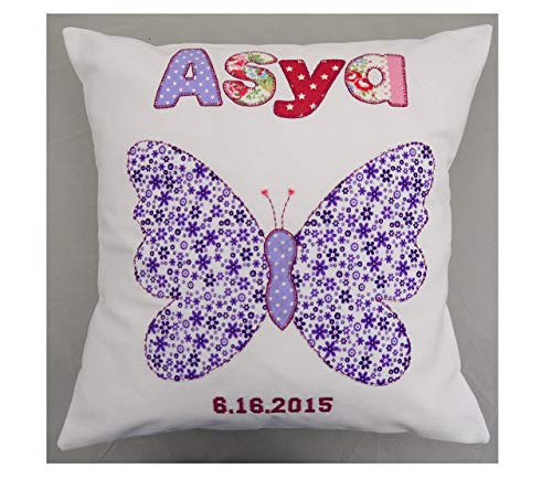 Girls Personalized pillow New baby gift named butterfly design