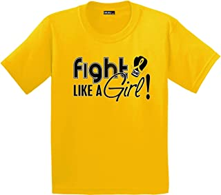 Fight Like a Girl Signature T-Shirt Kids/Youth Hot Pink or Gold