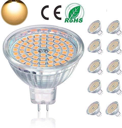 GU5.3 LED Lampen, MR16 LED Birne 5W entspricht 50W Halogenbirne,ACDC12V, 400LM, warmweiß 3000K, nicht dimmbar, 120 ° Abstrahlwinkel, LED Strahler Schienenbirne, 10 Packungen [Energieklasse A +]