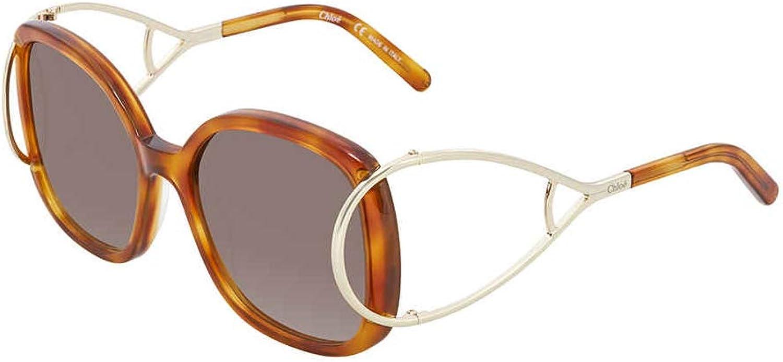 Chloe Jackson Square Racket Temple Sunglasses in Blonde Havana CE702 S 725 56 60 Gradient Grey