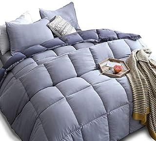KASENTEX All Season Down Alternative Quilted Comforter Set Reversible Ultra Soft Duvet Insert Hypoallergenic Machine Washable, King, Quartz Silver/Pebble Grey