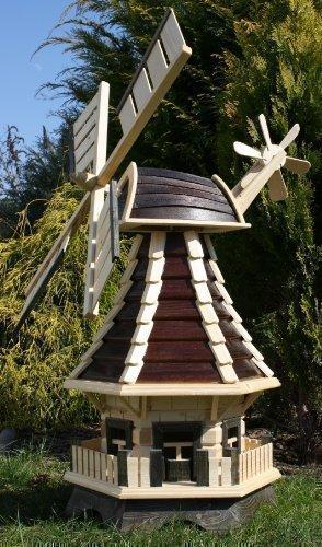 holzdekoladen Schöne Windmühle, Windmühlen mit Solar braun/natur Typ 1