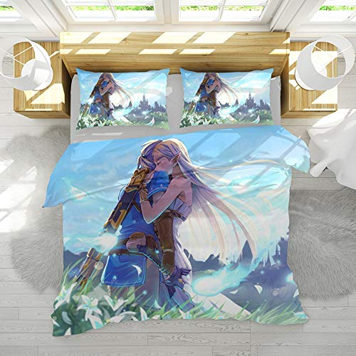 WAMK Juego de Funda nórdica Zelda Games, Juego de Funda de edredón de Microfibra hipoalergénica Ultra Suave 3 Piezas con 2 Fundas de Almohada,2,Doule